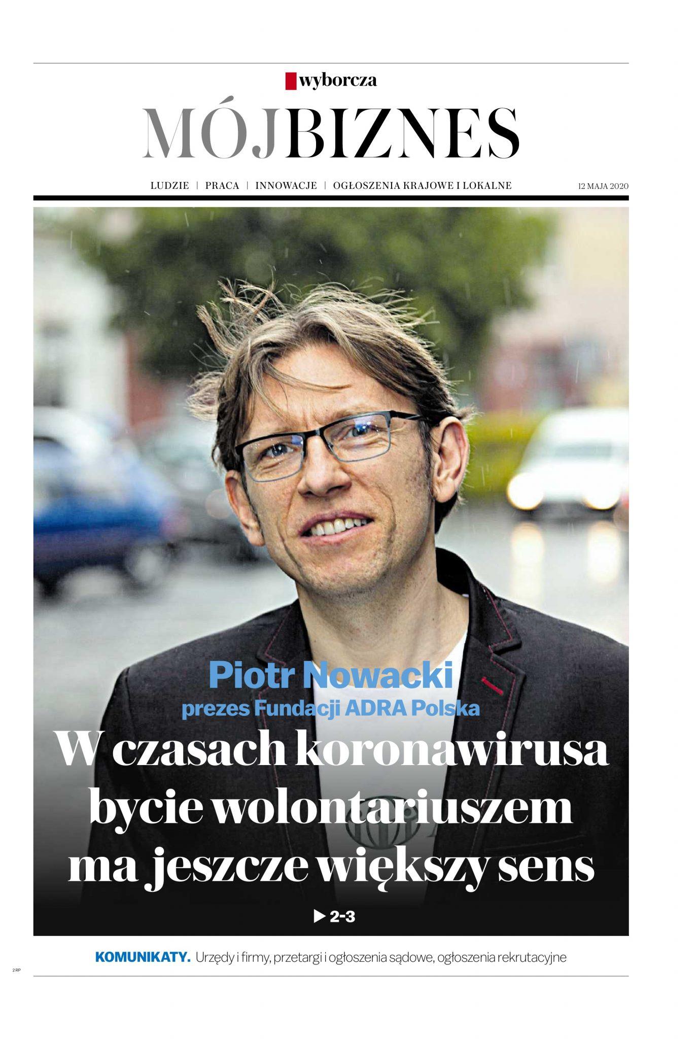 """O ADRA Polska w """"Gazecie Wyborczej"""" (""""Mój Biznes"""")"""