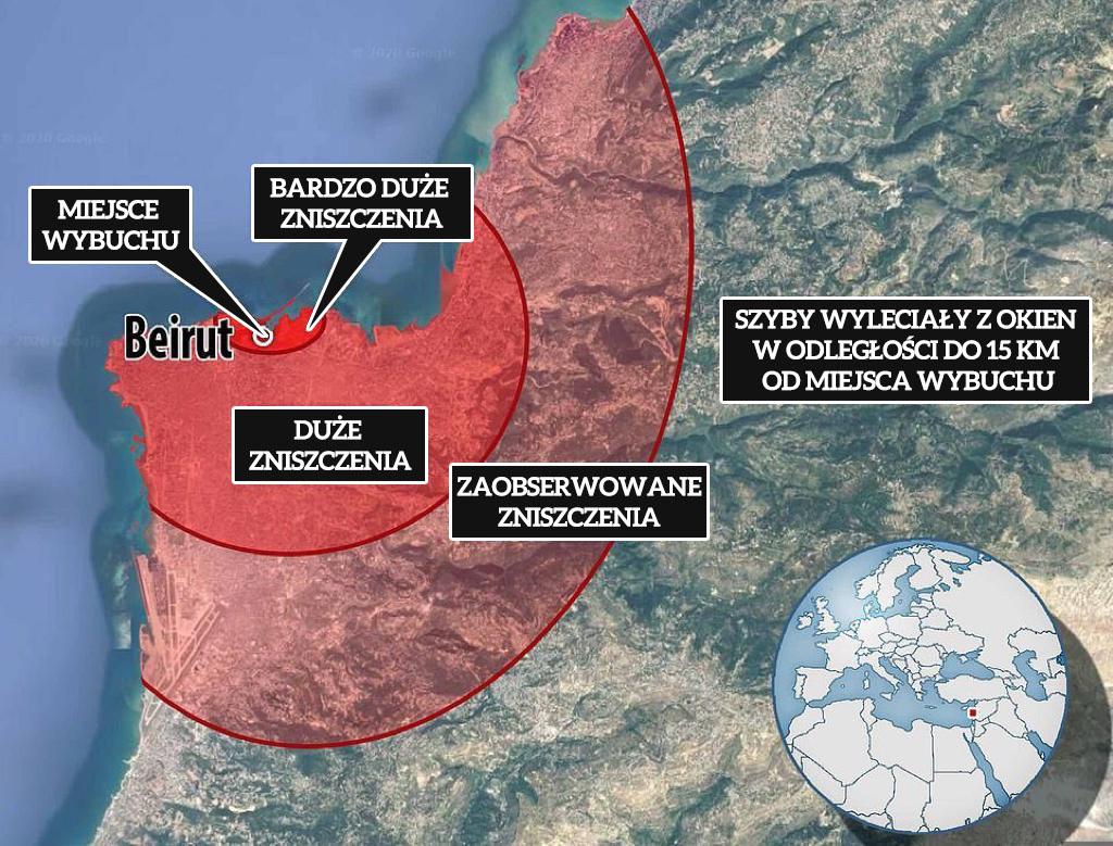 Pole rażenia wybuchu w Bejrucie